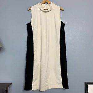 LAFAYETTE 148 | cream high neck dress black panels